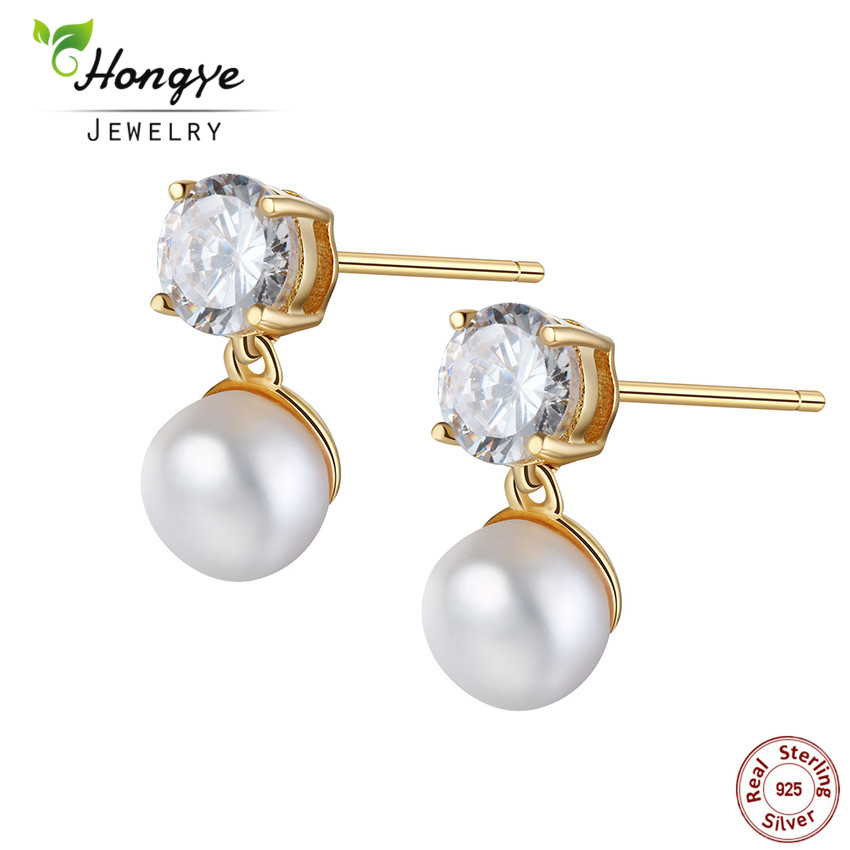Hongye 2018 Hot Shiny Round Natural Freshwater Pearl Stud Earrings With 925 Sterling Silver For Women Charm Jewelry Best Gift