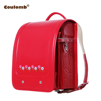 Coulomb Princess Flowers Backpack For Girls Randoseru Orthopedic School Bag For Kids Zipper&Hasp PU Leather Red Backpacks 2017