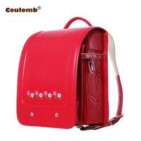 Coulomb Princess Flowers Backpack For Girls Randoseru Orthopedic School Bag For Kids Zipper&Hasp PU Leather Red Backpacks 2017