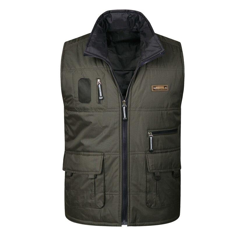 Men's New Multi-pocket Vest Men's Double-sided Wear Down Cotton Vest Men's Multi-pocket Double-sided Wear Vest
