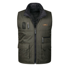 Mens new multi-pocket vest mens double-sided wear down cotton