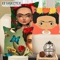 Cushion Cover Cartoon Frida Kahlo Flowers Pillowcase Woven Pillow Covers Polyester&Linen Home Decor 43x43cm/17x17'' 1PCS/Lot
