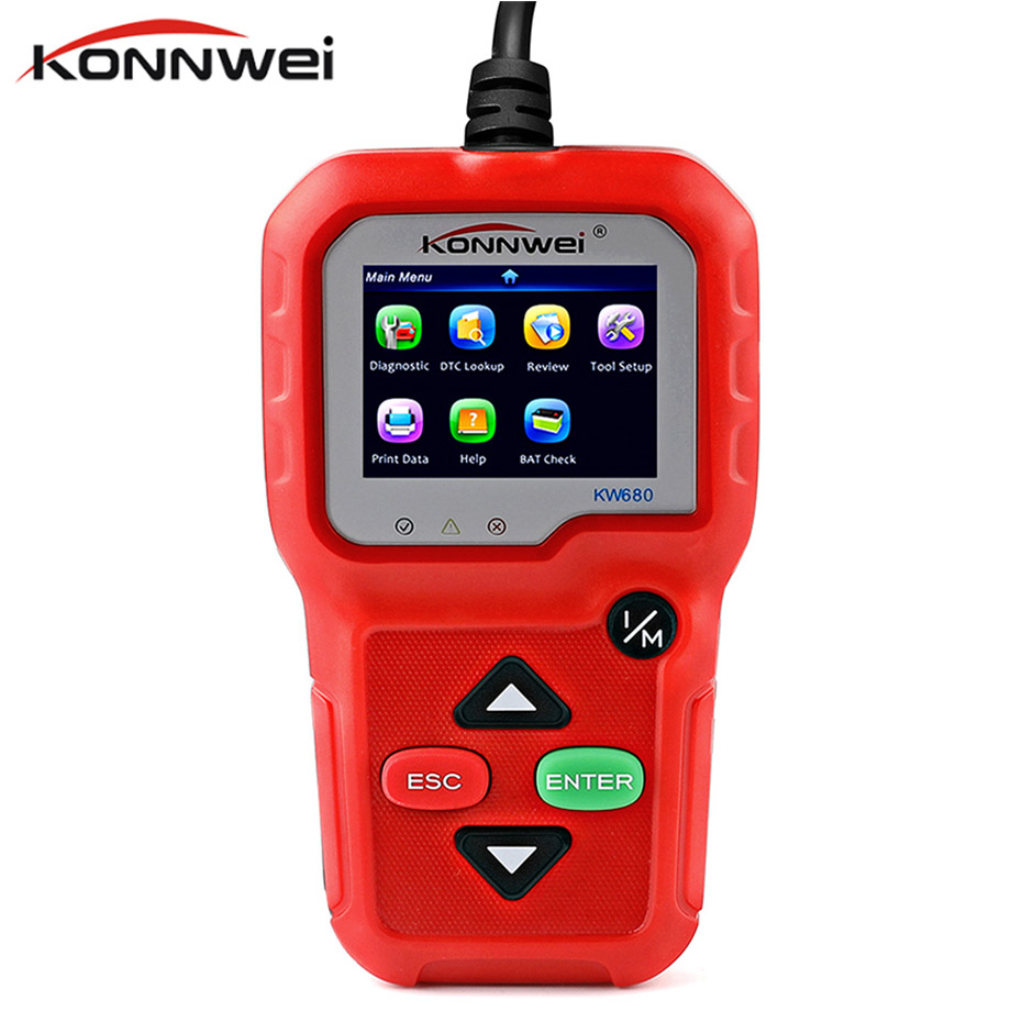 KW680 Konnwei OBD2 Scanner Automotivo OBD2 Ferramenta De Diagnóstico CAN obdii Diagnóstico-Ferramenta OBD Ferramenta De Diagnóstico OBD 2 Autoscanner
