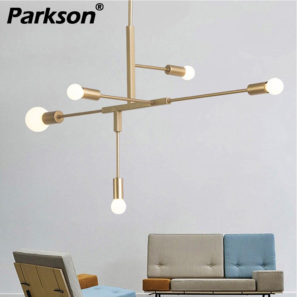Nordique moderne lustre éclairage Simple 110 V 220 V E27 lustre lumière or noir éclairage lampe pendante pour salon cuisine