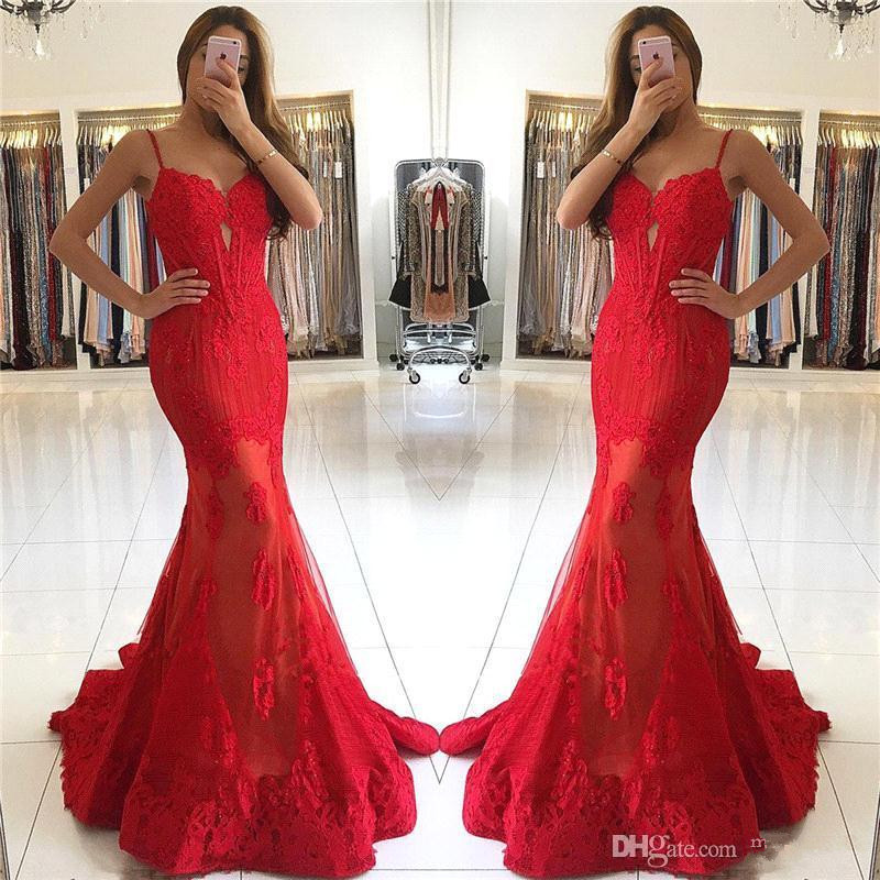 Sexy 2019   Prom     Dresses   Mermaid Spaghetti Straps Tulle Lace Red Party Maxys Long   Prom   Gown Evening   Dresses   Robe De Soiree