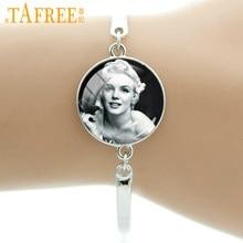 Tafree marca vintage marilyn monroe poster pulseira moda bonito estrela de cinema pulseiras manter a calma citações masculino feminino jóias ns422
