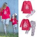 Мода Новые Семьи Соответствующие Наряды Набор Рождество Женщины Дочь Девушки Олень Пижамы Пижамы Пижамы Пижамы Одежда