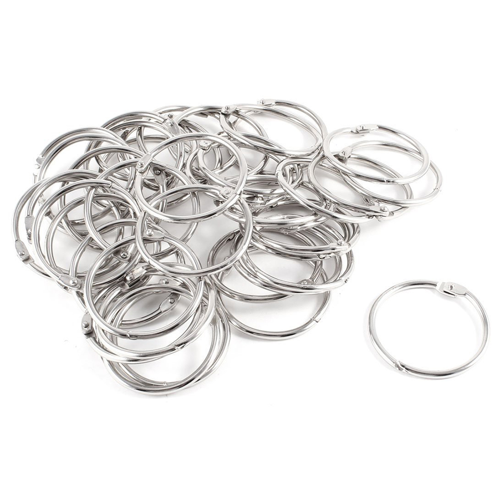 40 Pcs Staple Book Binder 45mm Outer Diameter Loose Leaf Ring Keychain
