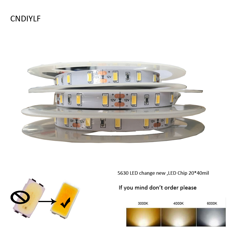купить High CRI>80 2018 New Seoul 0.5W 55-65lm/LED 12V LED Strip Light 5630 White IP20 14W/m 5m Per Lot 100% Shipping Air Mail по цене 861.53 рублей