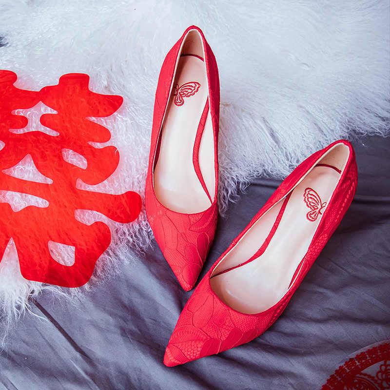 חתונה נעלי עקבים גבוהים להחליק על הבוהן מחודדת משאבות נשים נעלי 6.5 cm/9.5 cm
