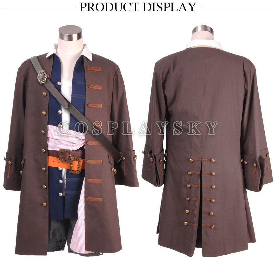Pirates of the Caribbean Jack Sparrow Cosplay Costume Full Set_01
