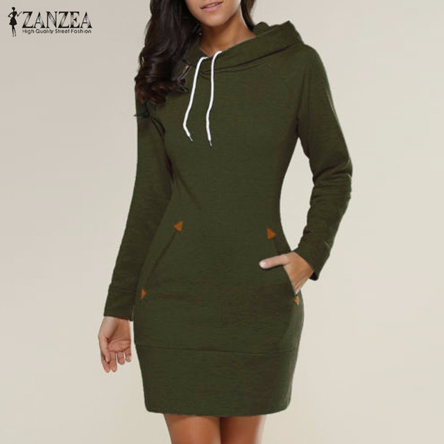 ZANZEA Autumn Winter Dress 2017 Women Sweatshirt Dress Casual Slim Pullovers Long Sleeve Mini Dresses Hooded Plus Size Vestidos