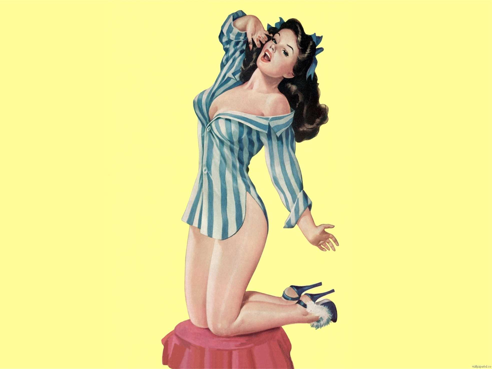 Striped Robe Pin Up Girl Art Propaganda Retro Vintage Kraft Poster