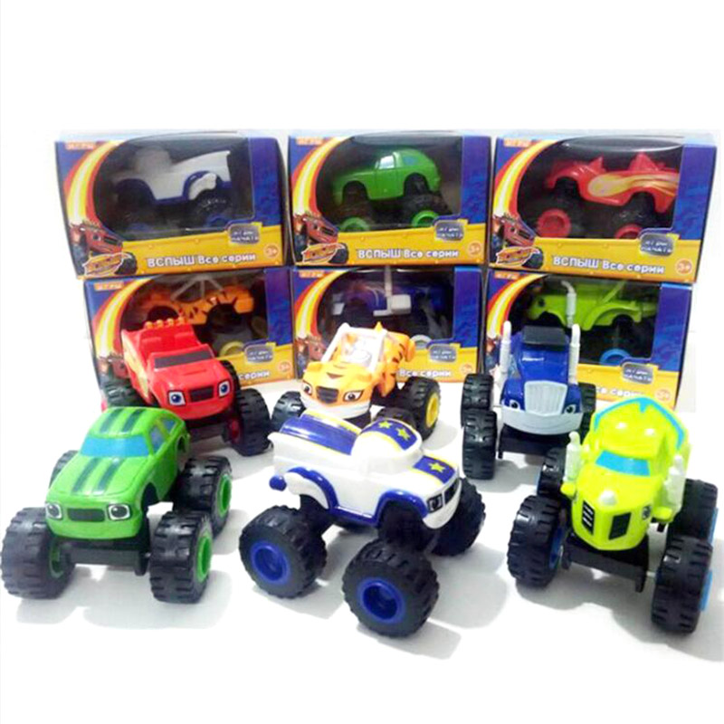 6pcs/Set Blaze Monster Machines Palstic Car Toys For Children Kids Truck Vehicle Transformation Car Y03
