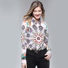 b4e1de4b53 THC 2019 Autumn Women Blouse Print Chiffon Long Sleeve Women Blouse Tops  Womens wear Casual Shirt Tops Blusas Feminine Camisa