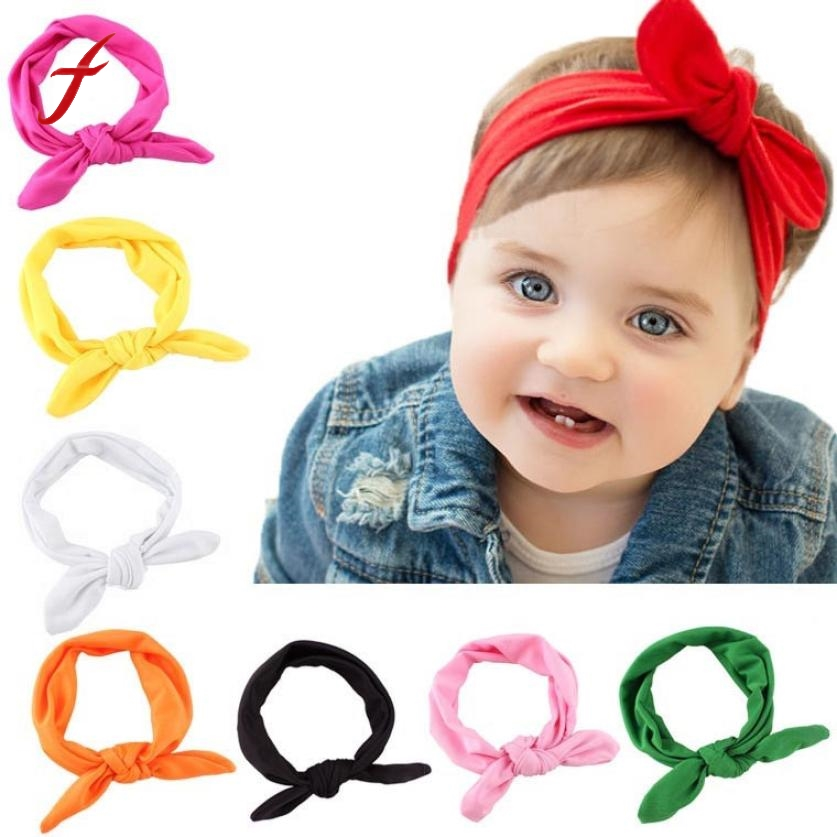 Cute Kids Girls Headband Rabbit Bow Ear Hairband Headwear Hot Sale Turban Knot Head Wraps Children Casual Apparel Accessories(China)