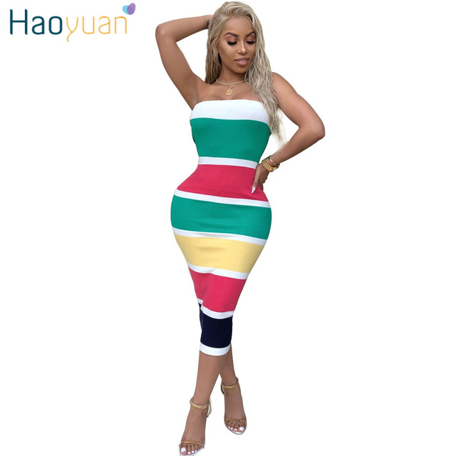 9ac7316890 HAOYUAN Sexy Wrap Dress 2018 New Striped Strapless Off Shoulder Backless  Mid-calf Bodycon Dress Club Wear Party Summer Dresses