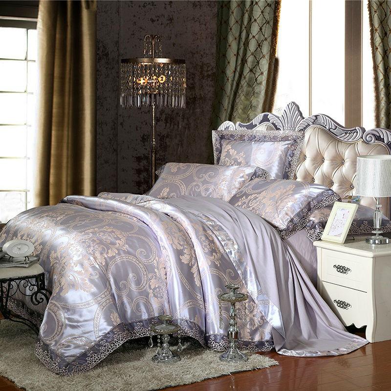 Noble royal style imprimer gris argent housse de couette dentelle frontière draps de soie coton jacquard Reine/Roi taille 4 /6 pcs literie ensembles