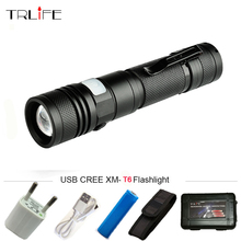 USB led Flashlight CREE XML-T6 Aluminum Waterproof Zoomable Flash light Torch Bicycle light Lantern 5 Modes for 18650 Battery