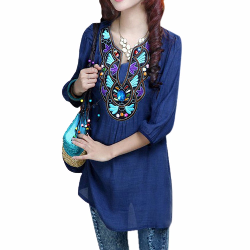 Women Boho Ethnic Embroidery Long Tops Blouse 3/4 Sleeve Pullover Shirt S1