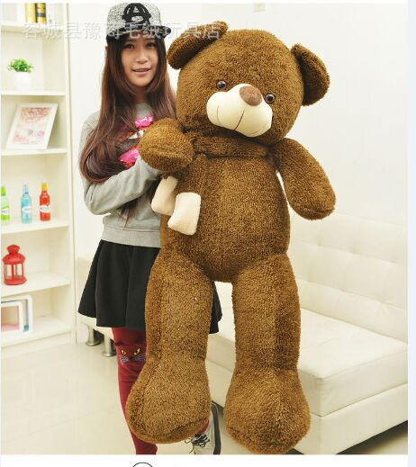 stuffed toy scarf teddy bear plush toy large 130cm dark brown bear hugging pillow Surprised Christmas gift h449 1 piece light brown high quality low price stuffed plush toys large size100cm teddy bear 1m big bear doll lovers birthday gift