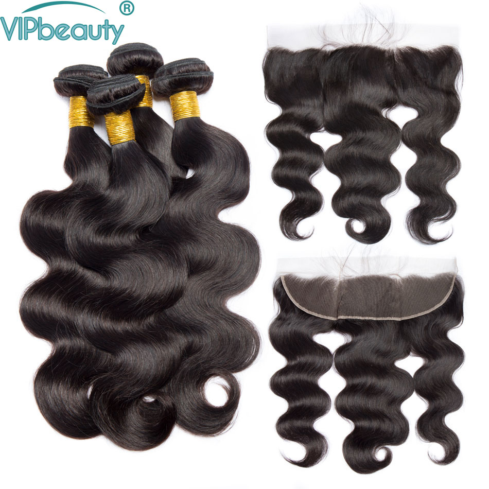 Vip Beauty Brazilian body wave bundles with frontal non remy hair extension body wave 3 bundles