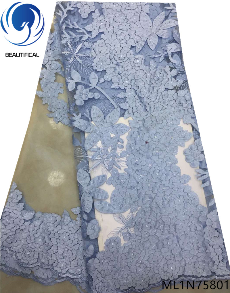 Beautifical afrikaanse kant stoffen 2019 Mode Lasersnijden Jacquard stof nigeriaanse netto kant stof voor jurken 5yards ML1N758-in Kant van Huis & Tuin op  Groep 3