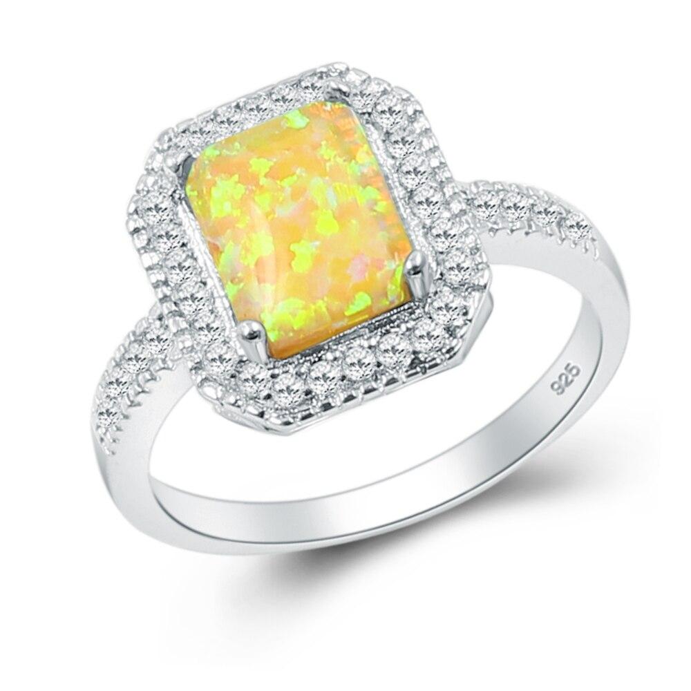 Модные подарки 925 стерлингового серебра обещание кольцо Whitetopaz желтый опал ювелирные изделия Размеры 7 8 RSB2486B Бесплатная доставка