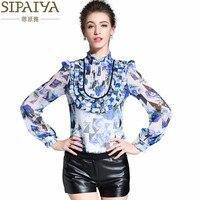 SIPAIYA 2017 Novo Design de Luxo de Seda Blusa Mulheres Escritório Ladies Trabalho Desgaste Formal Blusa Camisas Tops de Moda Feminina