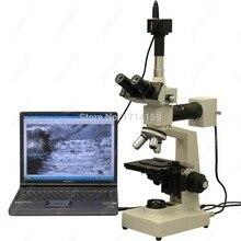 Металлургический микроскоп-amscope поставки 40x-2500x два легких металлургический микроскоп + 5mp USB Камера