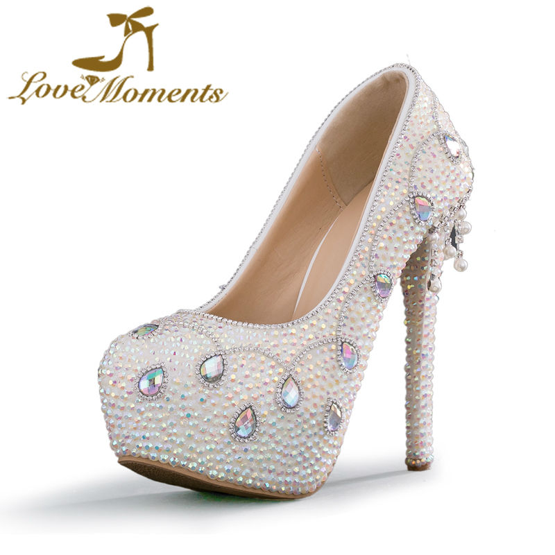 Love Moments shoes woman crystal rhinestone shoes platform wedding shoes bride high heels pumps evening dress party prom shoes