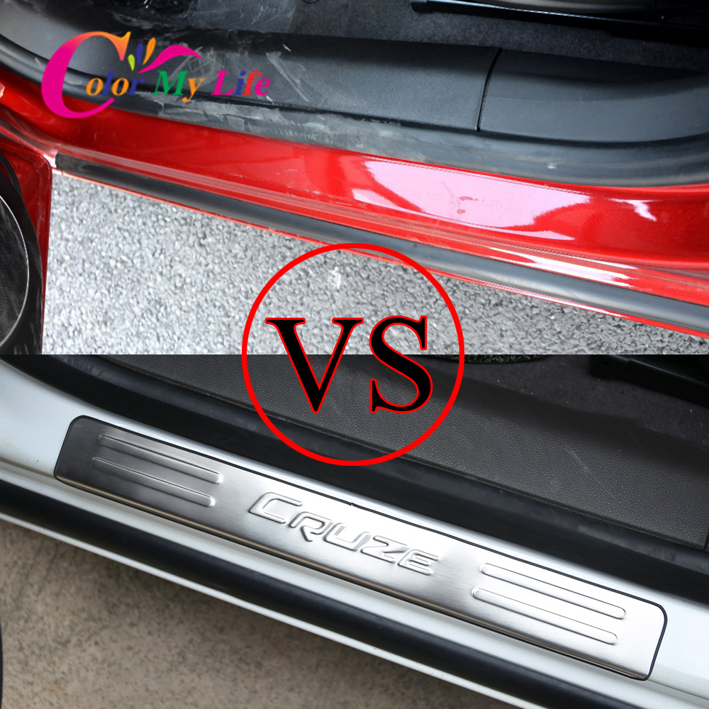 Car Door Sill Plate for Cruze Stainless Steel Car Door Protect Sill Plates for Chevrolet Chevry Cruze Sedan Hatchback 2009-2015