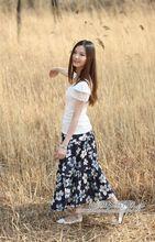 Pleated Floral Printed  Maxi Skirt 75/85cm Women's  Bohemian  Style Skirt  A-Line Linen Floor Long  Skirt