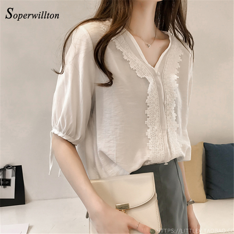 Summer Casual Chiffon Blouses Wome Sexy Shirts feminina Blouse with Lace 2018 Office wor ...