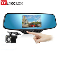 HD Car Rearview Mirror 4.3 Dvr Camera Dual lens Camera 150 degree FHD 1080P Middle Len Parking Function Dash Cam Night Vision