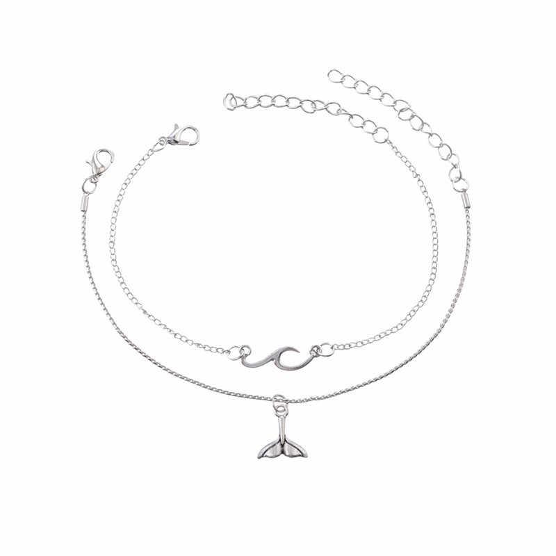 Czeski wiele warstw syrenka ogon zakrzywione fala koraliki obrączki dla kobiet w stylu Vintage nogi kostki łańcuszek na kostkę bransoletka Charms plaża biżuteria