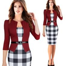 Plus Size S 4XL Size Women Elegant Faux Twinset Belted Tartan Plaid Patchwork Wear to Work