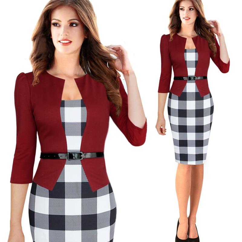 Plus Size S 4XL Size Women Elegant Faux Twinset Belted font b Tartan b font Plaid