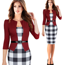 Plus Size S-4XL Size Women Elegant Faux Twinset Belted Tartan Plaid Patchwork Wear to Work Business Pencil Sheath Bodycon Dress