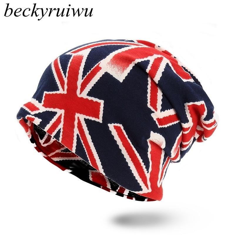 Beckyruiwu Union Flag Print Beanie Hats Women Fashion Wrap Scarf Men HipHop Punk Rock Skullies Cap Adult Pure Cotton Skiing Hat тонер картридж для лазерных аппаратов ricoh mpc6003 черный 841853