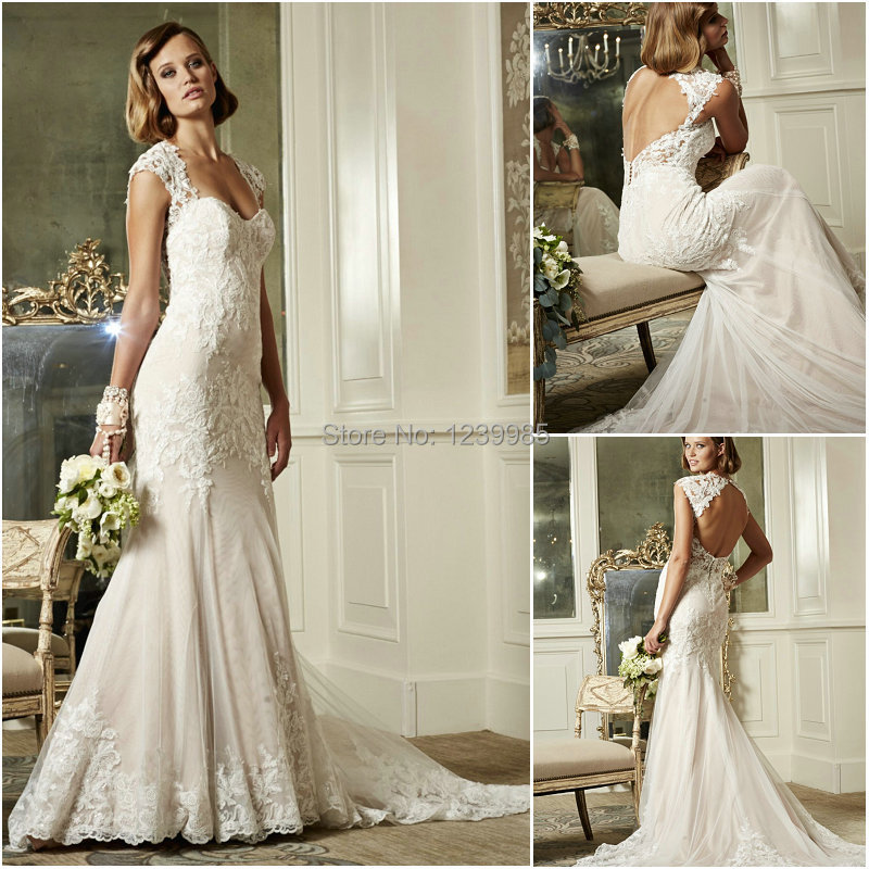 Yw078 Charming Sweetheart Cap Sleeves Mermaid Lace Wedding Dress