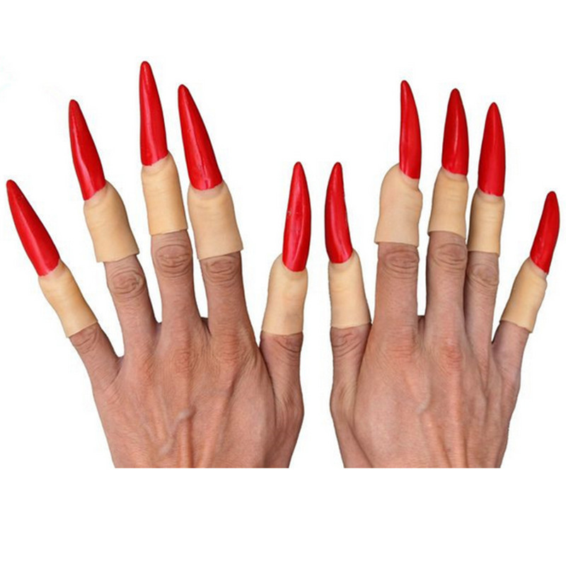Witch Long Fingernails Painted Red Black Halloween Day -7798