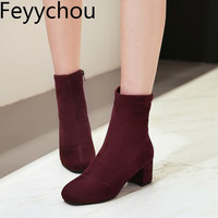 Women Boots Winter Autumn Warm Plush Shoes Mid calf Chelsea High Heels Round Toe Flock Zip 2018 Sexy New Purple Brown Black Blue