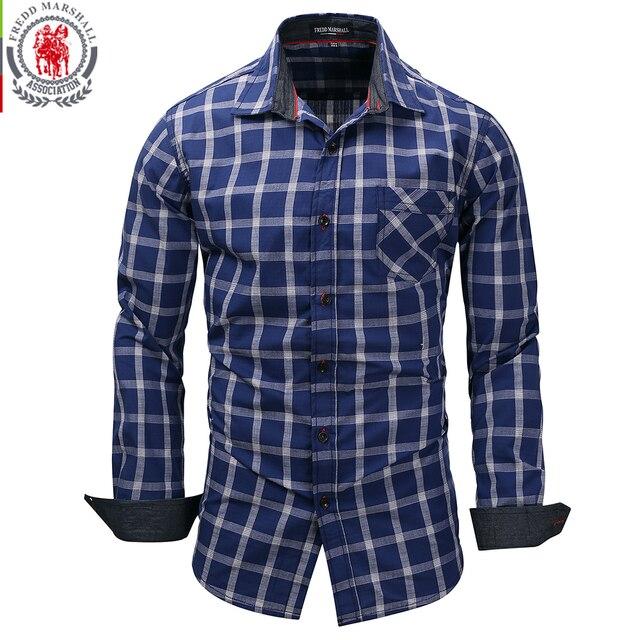 db789d15 Fredd Marshall New Fashion Men's Long Sleeve Plaid Dress Shirt Checks Shirt  Casual Male Social Business Shirts 100% Cotton 151