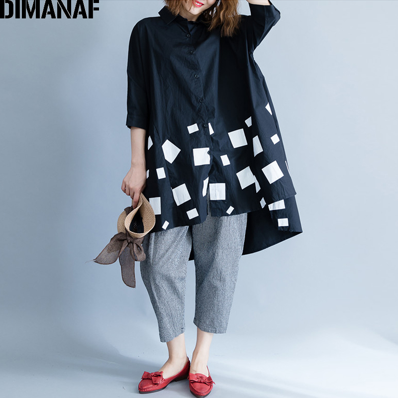 DIMANAF Women Blouse Shirts Long Sleeve Cotton Top Autumn Femme Lady Large Loose Clothing Print Spliced Pleated Plus Size Black