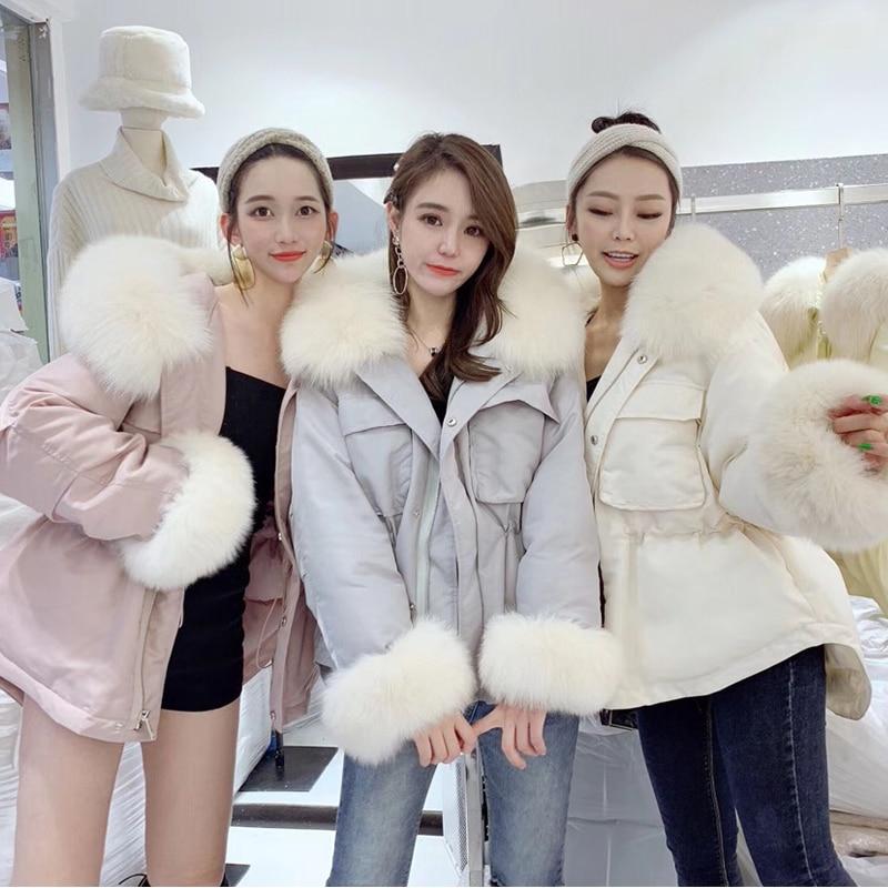 2019 Women Winter Jacket White Duck Down Parka Large Real Fox Fur Collar Hooded Down Jacket Long Coat Female Warm Coat Outerwear