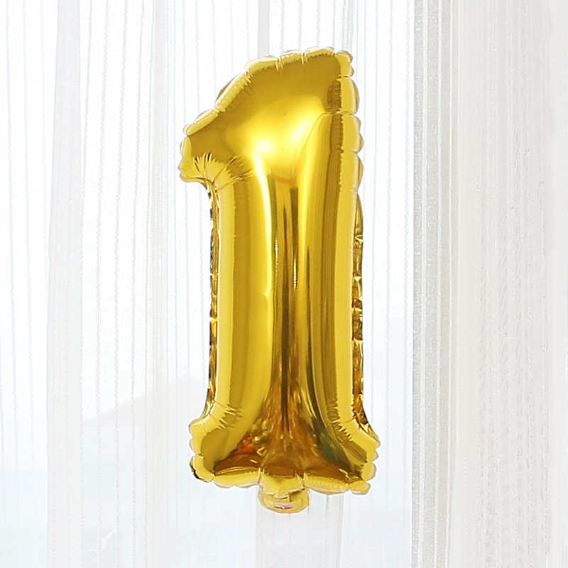 ทอง 0-9 จำนวนบอลลูนงานแต่งงานตกแต่งห้อง Inflatable ของเล่นเด็กวันเกิด Party Props 1pc