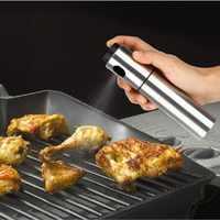 Aço inoxidável bomba de oliva spray garrafa óleo pulverizador pote lubrificador churrasco ferramenta cozinhar pode pot panelas cozinha ferramenta