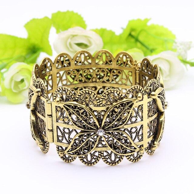 Exquisite Turkish Women Armlet Plus Size Bangle Bracelet Flower Antique Gold Color Cuff Bangles Jewelry Ethnic