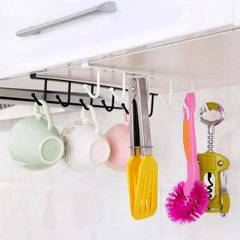 Kitchen Cup Storage Rack Cupboard Hanging Hook Shelf Dish Hanger Chest Storage Shelf Bathroom Organizer Holder Storage Rack